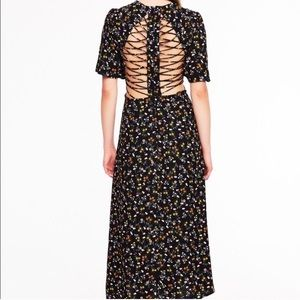 AFRM Meg ditzy pattern lattice back midi dress